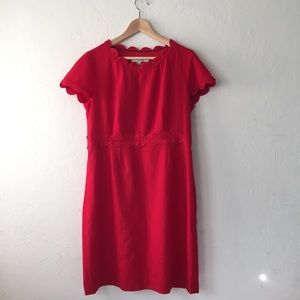 Boden red dress scalloped neckline midi size 12